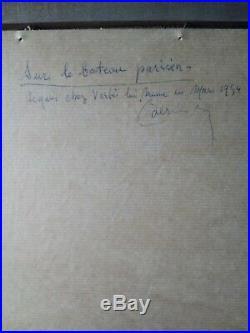 Tableau ancien école de Paris le baiser Marcel Vertès huile sur toile 1930
