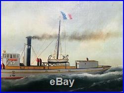 Tableau ancien hst marine portrait de bateau vapeur l'Oberon signé Edouard Adam