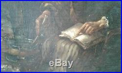 Tableau ancien huile sur toile 19 ème la sorcière