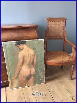 Tableau ancien huile sur toile nu féminin circa 1940-1950 benezit auction