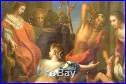 Tableau, ancien, jugement de Salomon, XVII-XVIIIeme, bible, Rubens, école flamande