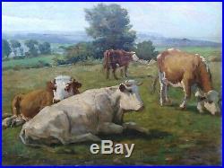 Tableau ancien pâturages vaches Rosa Bonheur paysage pastorale