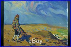 Tableau ancien paysage animé 1916 Paysage Pays Basque Aragon R. Gomez Gimeno