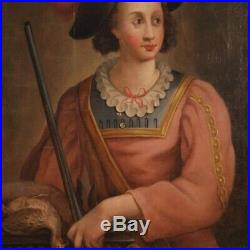 Tableau ancien peinture huile sur toile portrait chasseur 700 18ème siècle
