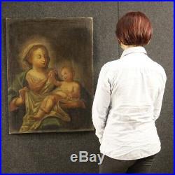 Tableau ancien peinture religieux italien huile toile Madonne avec enfant 700