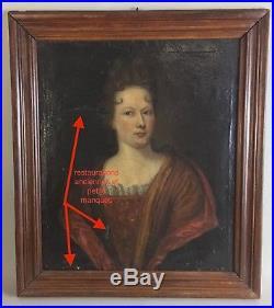 Tableau ancien, portrait Dame de qualité époque XVIIIème