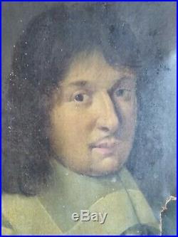 Tableau ancien portrait noblesse xviii eme homme en armure militaire armoiries