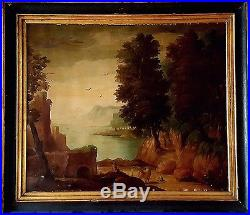 Tableau ancien rare paysage époque 18-19ème personnage près des ruines