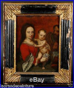 Tableau ancien religieux d'époque 17ème Portrait de vierge et sainte famille