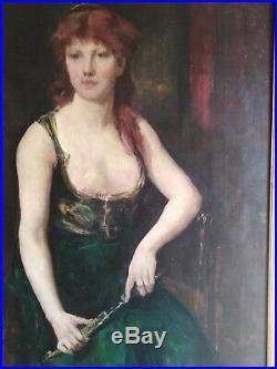 Tableau ancien religieux symboliste Judith Constant dans le goût de portrait