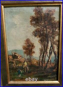 Tableau ancien scène cavalier 18e siecle Huile sur toile oil on canvas painting