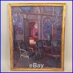 Tableau ancien, scène d'intérieur de château, peut-être de Fontainebleau