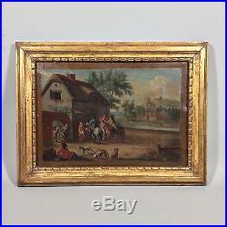 Tableau ancien scène villageoise XVIIIème siècle
