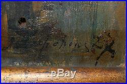 Tableau ancien signé G. LAPCHINE bouquet de roses Huile/toile Ecole Russe