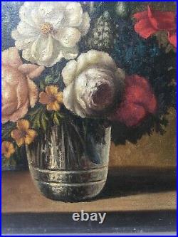 Tableau ancien signé, Huile sur toile, Nature morte, Bouquet de fleurs, XXe