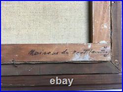 Tableau ancien signé et daté 51, Huile sur toile, Menton, Encadré, Milieu XXe