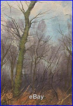 Tableau ancien superbe HST lorée de la forêt, signature à déchiffrer
