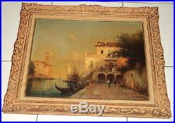 Tableau ancien sur toile peinture signé Béraud Bouvard Scene Venise Cadre Mont