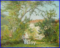 Tableau école française impressionniste paysage Provence femme cousant jardin