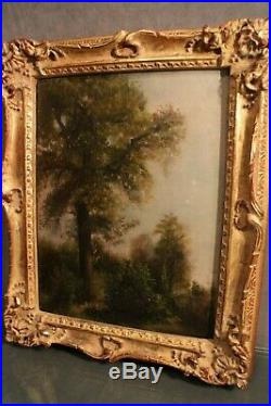 Tableau encadré huile sur toile 19e au paysage arboré type Ecole de Barbizon