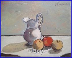 Tableau expressionniste Nature morte au pomme Huile signée gout Giorgio Morandi