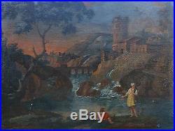 Tableau grand paysage animé école française du XVIIIème siècle huile sur toile