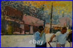 Tableau grande huile sur toile Vintage scene de rue avec vehicule