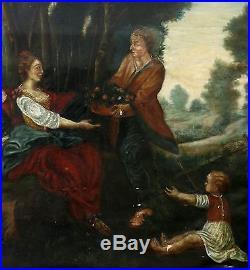 Tableau grande scène champêtre Huile sur toile XVII-XVIIIème siècle Ecole frança