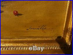 Tableau huile sur toile 19eme panier de fruits signé