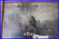 Tableau huile sur toile cadre stuc dorure or 19 ème siècle personnage vache