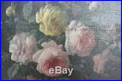 Tableau huile sur toile fleurs XIXe signé BARGOT