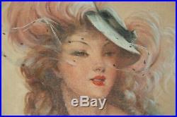Tableau huile sur toile portrait de femme parisienne signé A. David