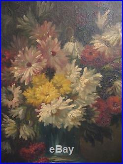 Tableau huile sur toile signé Coppenolle bouquet de fleurs époque XIXème siècle
