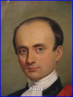 Tableau huile sur toile signée Couapel 1846 portrait d' un avocat XIX siècle
