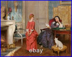 Tableau huile toile scène intérieur salon Louis XVI costumes XVIIIème siècle 18è