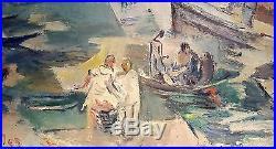 Tableau orientaliste bord de mer animé par Jean-Désiré Bascoulès (1886-1976)