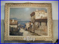Tableau, peinture, huile sur toile signée gustave vidal, marine, méditérannée