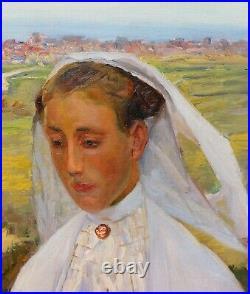 Tableau portrait femme Bretonne coiffe SAINT-BRIEUC Trégor paysage vue BRETAGNE