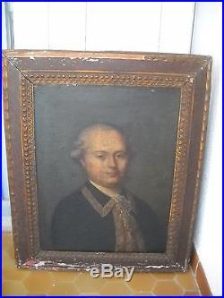 Tableau, portrait homme, huile sur toile, 18 ème. Antic portrait, 18 th century