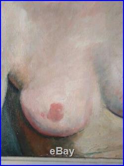Tableau portrait nu jeune femme Kvapil belge école de Paris young woman nude