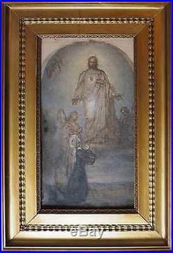Tableau religieu Apparition du sacré coeur Jésus Marie XIX° siècle Superbe