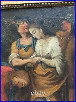 Tableau religieux ancien, Huile sur toile, XVIIIe ou avant, Cadre ancien