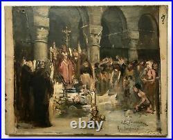 Tableau religieux ancien signé et daté 1893, Huile sur toile, Messe noire XIXe