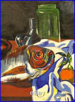 Tableau vers 1950 signé Jean Lokay nature morte au poisson Fauvisme Fauve