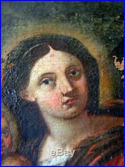 Tableau vierge a l enfant 18 eme huile sur toile ecole italienne