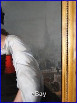 Theodore Levigne Somptueux Tableau Portrait L'alsace H/t Original Date 1872