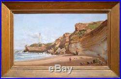 Très beau tableau du XIXeme. Plage et pêcheur. Biarritz. Ecole du Pays Basque