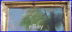 Trumeau Epoque 1er Empire Huile sur toile XIXème siècle cadre doré à la feuille