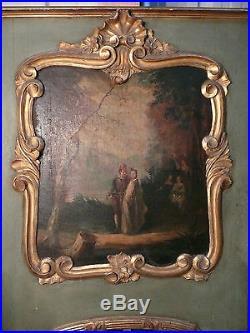 Trumeau louis XV huile toile glace 18 e siècle bois doré tableau pierglass Holz