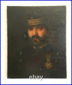 Vieux Tableau d'un portrait de gradé ou d'un soldat, huile sur toile